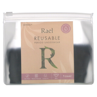 Rael, Reusable Period Underwear, Bikini, Large, Black, 1 Count