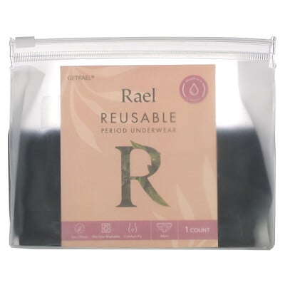 Rael Reusable Period Underwear, Bikini, Extra Large, Black, 1 Count