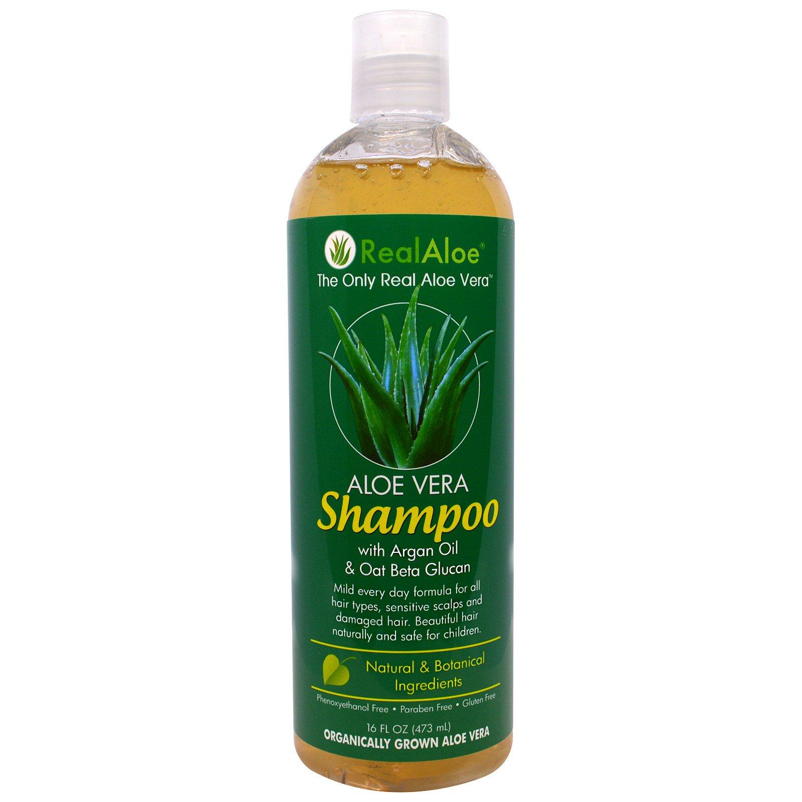 Real Aloe Inc., Aloe Vera Shampoo with Argan Oil & Oat Beta Glucan, 16 fl oz (473 mL) - iHerb.com
