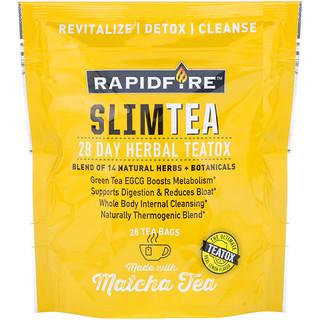 RAPIDFIRE, SlimTea, 28-дневный курс детоксикации на основе чая, Чай Маття, Настоящий лимонный вкус, 28 чайных пакетиков