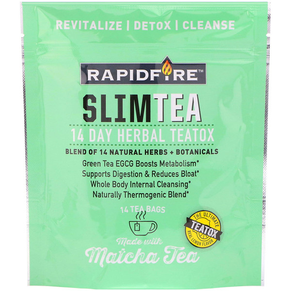 RAPIDFIRE, SlimTea, 14 Day Herbal Teatox, Matcha Tea, Real Lemon Flavor, 14 Tea Bags