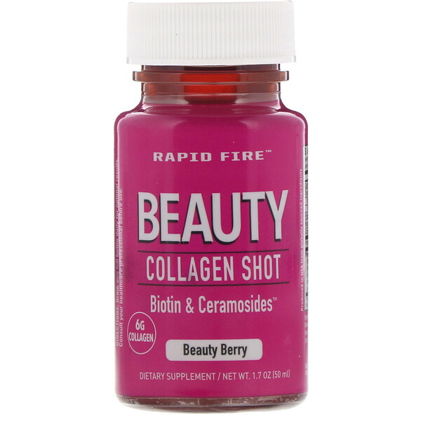 RAPIDFIRE, Beauty Collagen Shot, Biotin & Ceramosides, Beauty Berry, 6 g, 1.7 oz (50 ml)