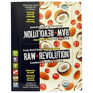 Ро Революшен, Fruit, Nut & Seed Super Food Bar, Cranberry Almond & Coconut, 12 Bars, 1.6 oz (46 g) Each отзывы