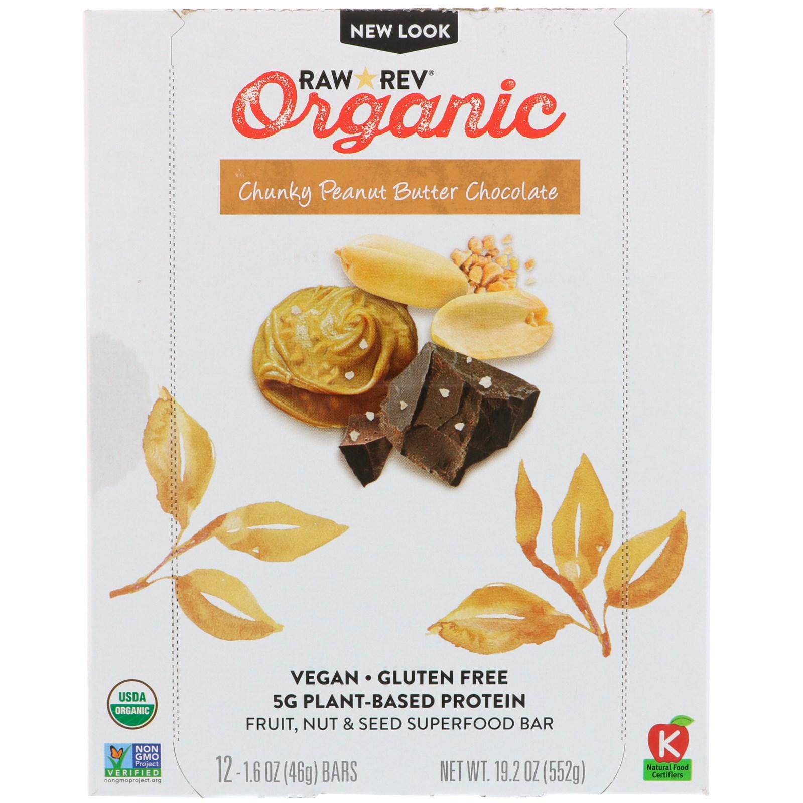 Raw Revolution, Organic, Chunky Peanut Butter Chocolate, 12 Bars, 1.6 oz (46 g) Each