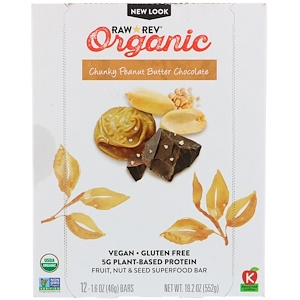 Ро Революшен, Organic, Chunky Peanut Butter Chocolate, 12 Bars, 1.6 oz (46 g) Each отзывы