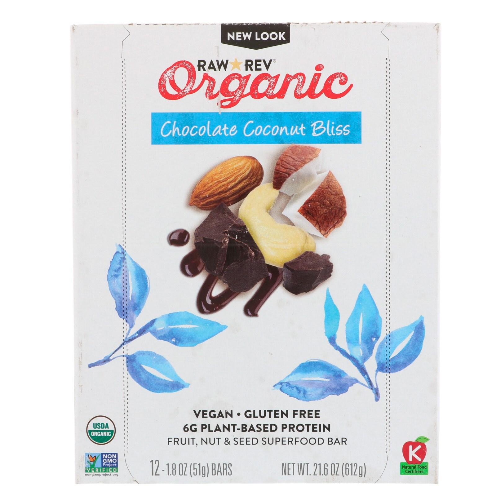 Raw Revolution, Органический продукт, Шоколадное кокосовое блаженство, 12 батончиков, 1,8 унц. (51 г) в каждом
