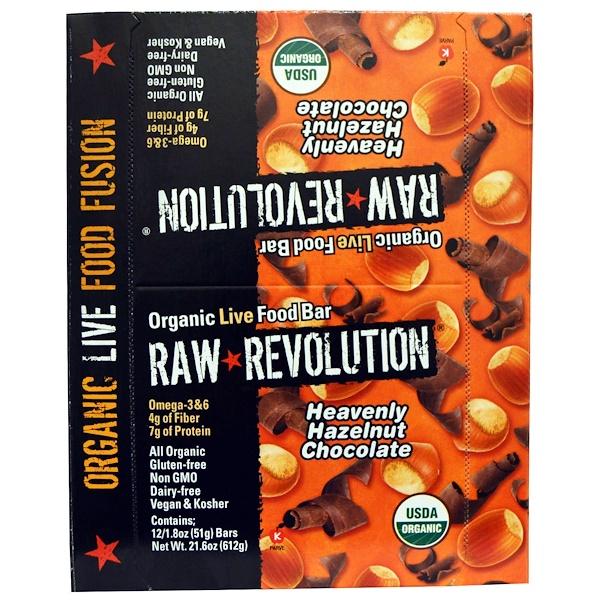Raw Rev, Organic Live Food батончик, изумительный фундук и шоколад 12 батончиков, 1.8 унции (51 г) каждый (Discontinued Item)