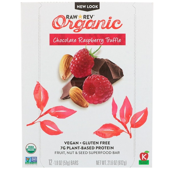 Raw Rev, Organic, Chocolate Raspberry Truffle, 12 Bars, 1.8 oz (51 g) Each (Discontinued Item)
