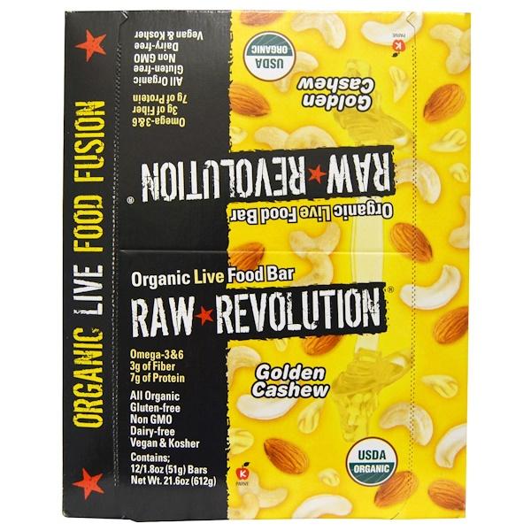 Raw Revolution, Органический батончик с орехами кешью, 12 батончиков, 1,8 унций (51 г) каждый (Discontinued Item)
