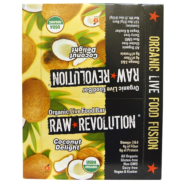 Raw Rev, Organic Live Food Bar, Coconut Delight, 12 Bars, 1.8 oz (51 g) Each (Discontinued Item)