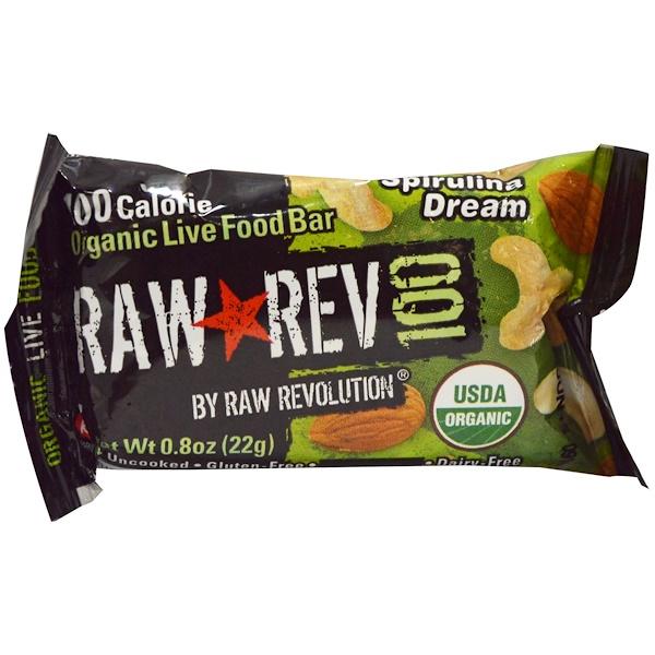 Raw Rev, Raw Rev 100, Organic Live Food Bar, Spirulina Dream , 0.8 oz (22 g) (Discontinued Item)