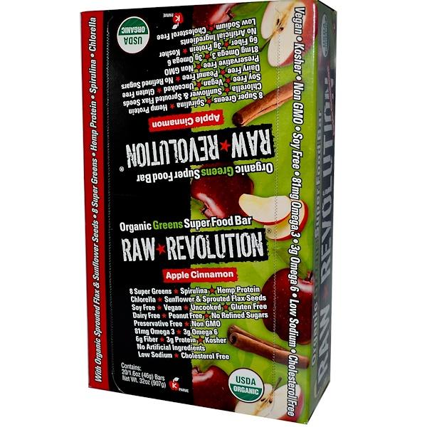 Raw Revolution, Organic Greens Super Food Bar, Apple Cinnamon, 20 Bars, 1.6 oz (46 g) Each (Discontinued Item)