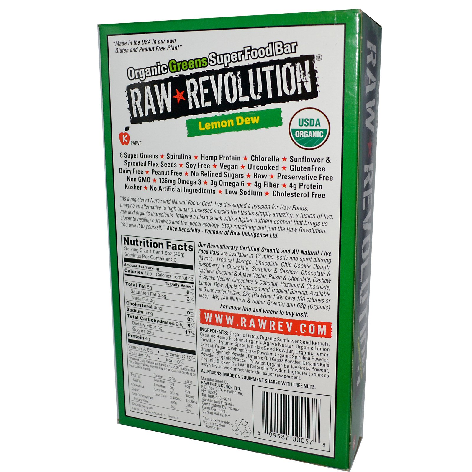 Raw revolution organic greens super food bar lemon dew for Raw food bars uk