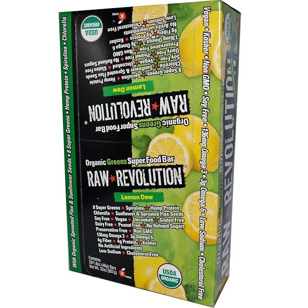 Raw Rev, Organic Greens Super Food Bar, Lemon Dew, 20 Bars, 1.6 oz (46 g) Each (Discontinued Item)