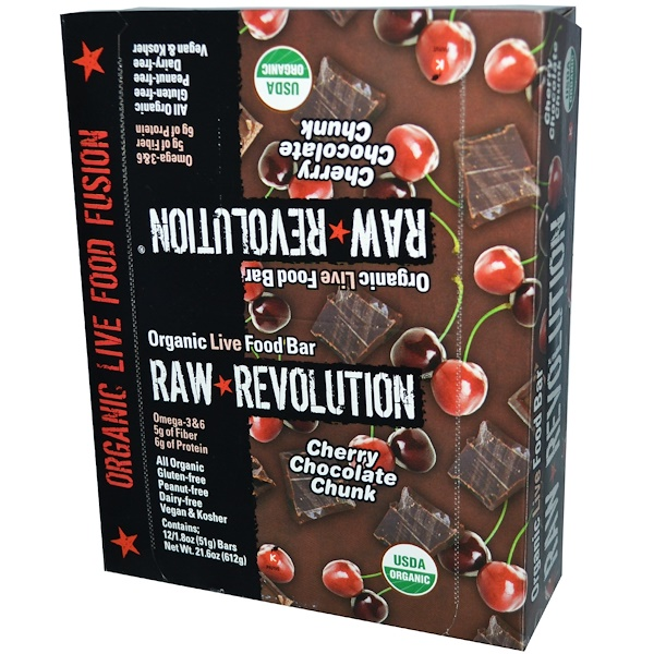 Raw Rev, Organic Live Food Bar, Cherry Chocolate Chunk, 12 Bars, 1.8 oz (51 g) Each (Discontinued Item)