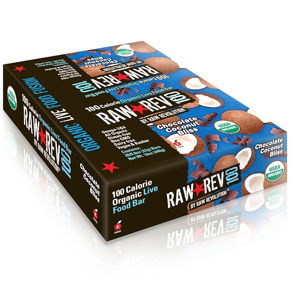 Raw Rev, Raw Rev 100, Organic Live Food Bar, Chocolate Coconut Bliss, 20 Bars, 0.8 oz (22 g) Each (Discontinued Item)