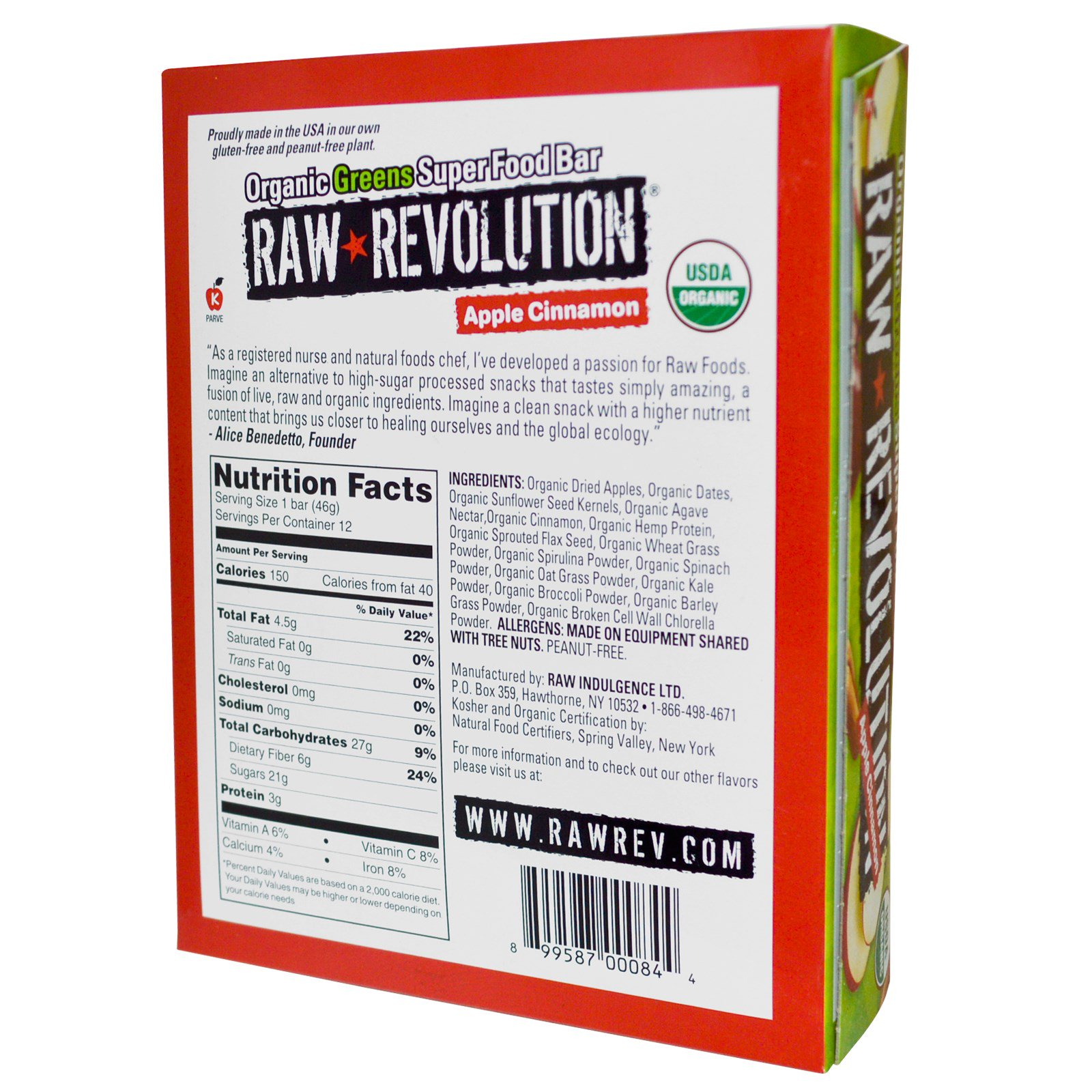 Raw revolution organic greens super food bar apple for Bar food 46 levallois