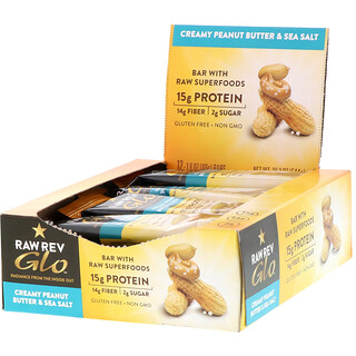 Raw Rev, Glo, Creamy Peanut Butter & Sea Salt, 12 Bars, 1.6 oz (46 g) Each