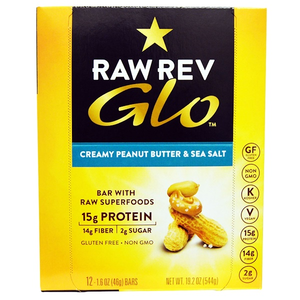 Raw Revolution, Glo, Creamy Peanut Butter & Sea Salt, 12 Bars, 1.6 oz (46 g) Each