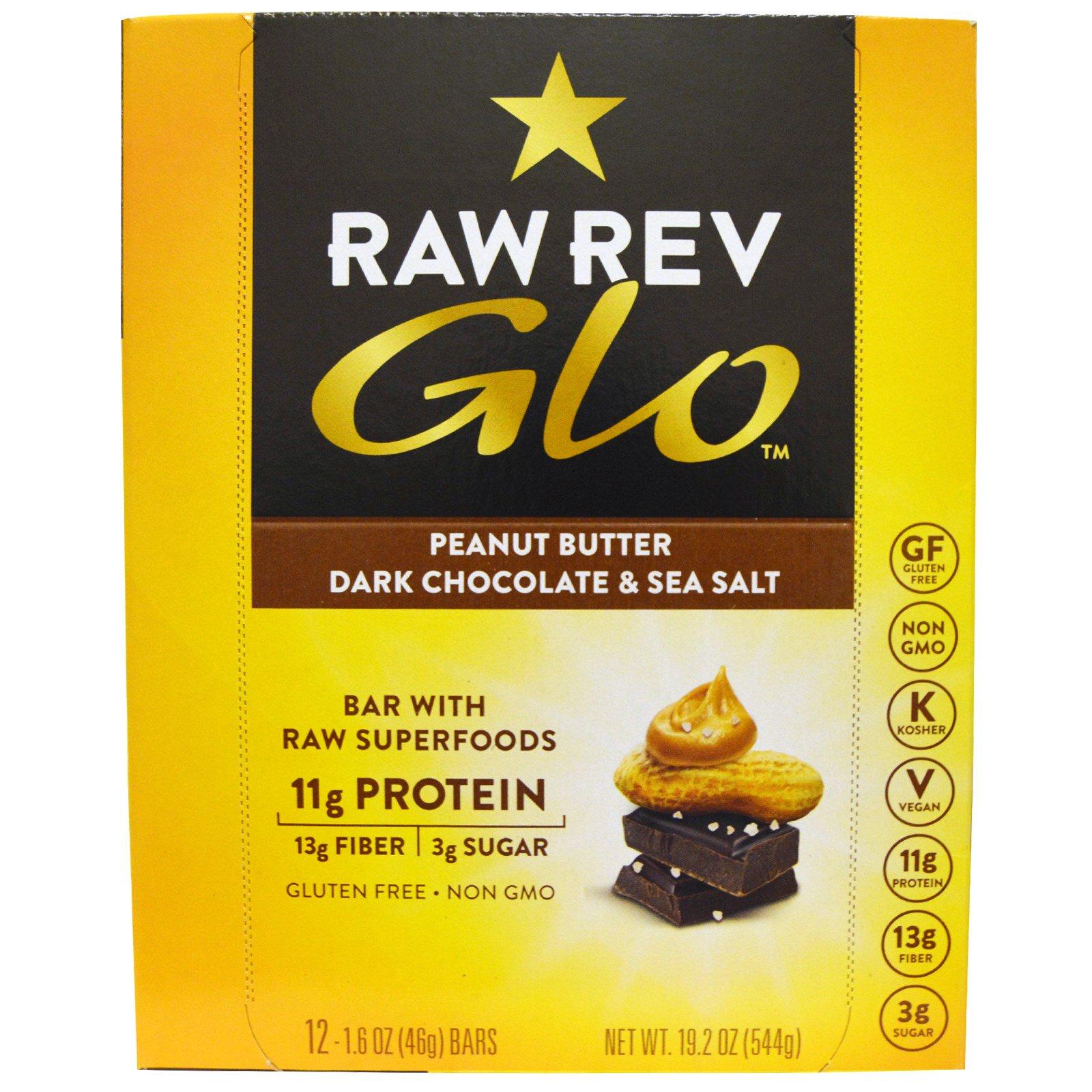Raw Revolution, Glo, темный шоколад с арахисовым маслом и морской солью, 1,6 унции (46 г) каждый