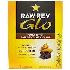 Raw Revolution, Glo, Peanut Butter Dark Chocolate & Sea Salt, 12 Bars, 1.6 oz (46 g) Each