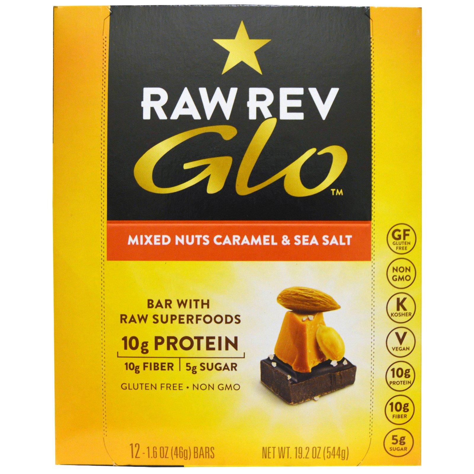 Raw Revolution, Glo, Смесь орешков с карамелью & морской солью, 12 батончиков по 1,6 унции (46 граммов)