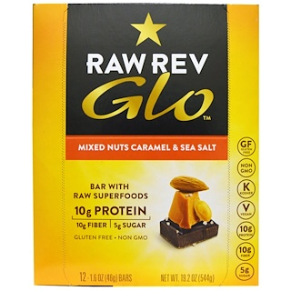 Raw Revolution, Glo, Mixed Nuts Caramel & Sea Salt, 12 Bars, 1.6 oz (46 g) Each
