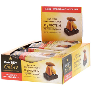 Raw Rev, Glo, Mixed Nuts Caramel & Sea Salt, 12 Bars, 1.6 oz (46 g) Each