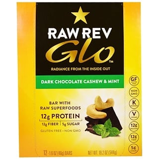 Raw Revolution, Glo, Dark Chocolate Cashew & Mint, 12 Bars, 1.6 oz (46 g) Each