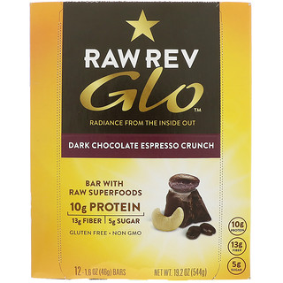 Raw Revolution, Glo, Dark Chocolate Espresso Crunch, 12 Bars, 1.6 oz (46 g) Each