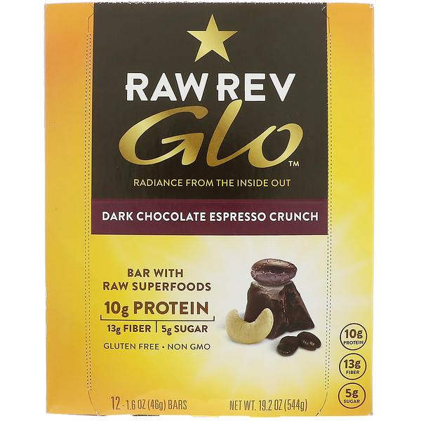 Raw Revolution, Glo, Dark Chocolate Espresso Crunch, 12 Bars, 1.6 oz (46 g) Each