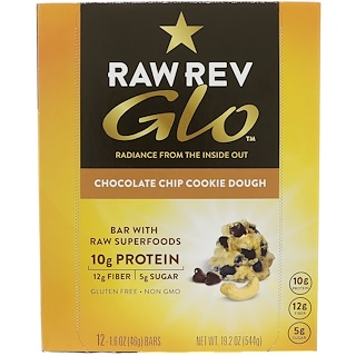 Raw Revolution, Glo, Chocolate Chip Cookie Dough, 12 Bars, 1.6 oz (46 g) Each