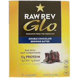 Raw Revolution, Glo, Double Chocolate Brownie Batter, 12 Bars, 1.6 oz (46 g) Each