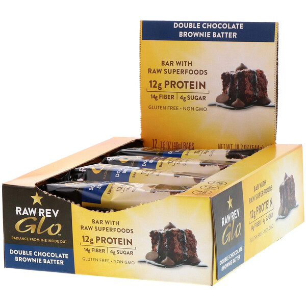 Glo, masa de brownie de chocolate doble, 12 barras, 1.6 oz (46 g) c/u