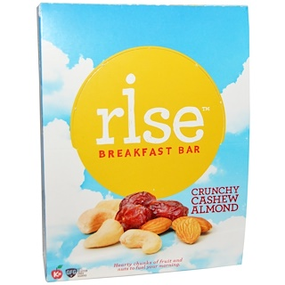 Rise Bar, Breakfast Bars, Crunchy Cashew Almond, 12 Bars, 1.4 oz (40 g) Each