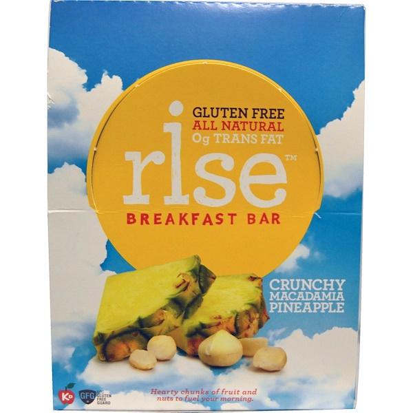 Rise Bar, Питательный батончик, с хрустящим орехом макадемия и ананасом, 12 батончиков, 1,4 унции (40 г) Каждый (Discontinued Item)