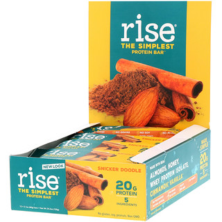 Rise Bar, Protein Bar, Snicker Doodle, 12 Bars, 2.1 oz (60 g) Each