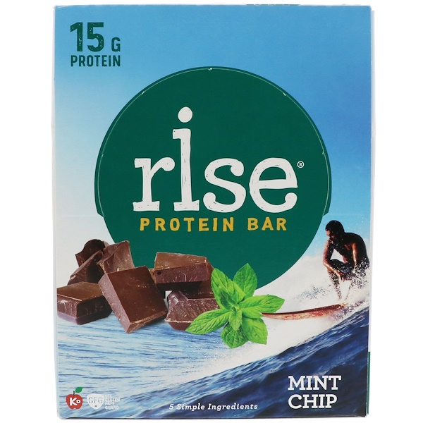 Rise Bar, Rise Protein Bar, Mint Chip, 12 Bars, 2.1 oz (60 g) Each (Discontinued Item)