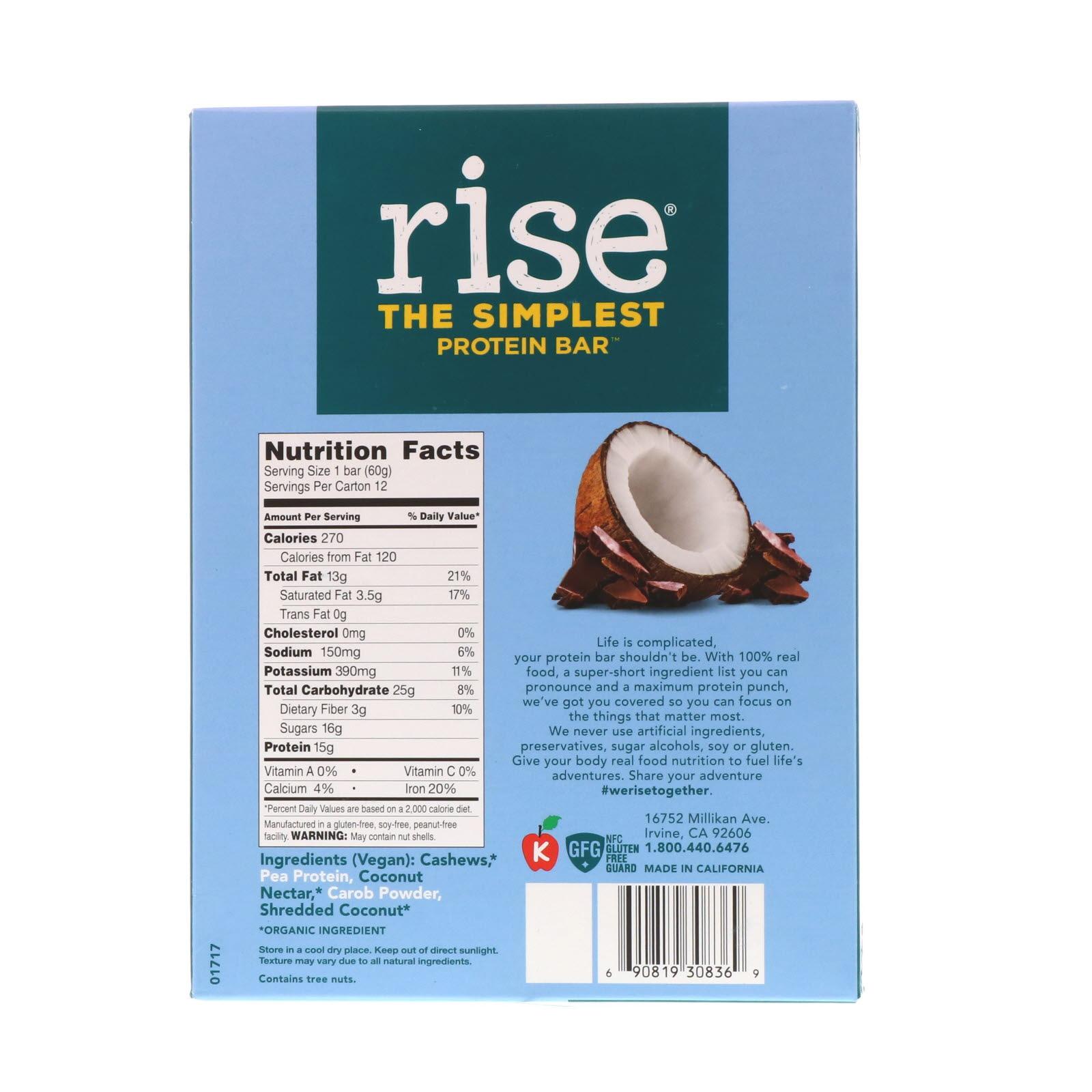 Rise Bar, Протеиновый батончик, шоколад и кокос, 12 батончиков, 2,1 унц. (60 г) каждый