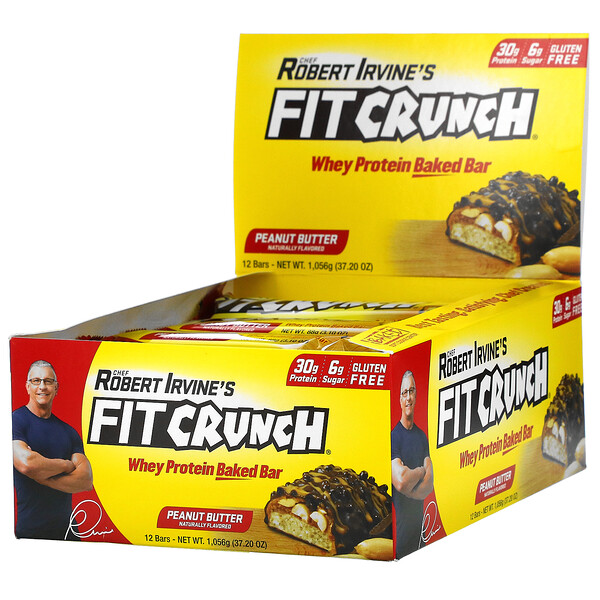 FITCRUNCH, Whey Protein Baked Bar, Peanut Butter, 12 Bars, (3.10 oz) 88 g Each