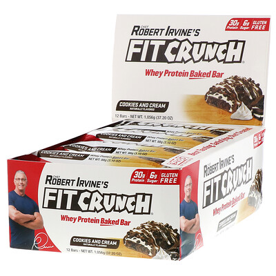FITCRUNCH Whey Preotein Baked Bar, Cookies and Cream, 12 Bars, 3.10 oz (88 g) Each