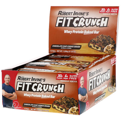 Купить FITCRUNCH Whey Protein Baked Bar, Chocolate Chip Cookie Dough, 12 Bars, 3.10 oz (88 g) Each