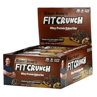 FITCRUNCH, 유청 단백질 구운 바, 초콜릿 칩 쿠키 반죽, 바 12개, 각 88g(3.10oz)