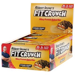 FITCRUNCH, 유청 단백질 베이킹 바, 캐러멜 땅콩, 바 12개, 각 88g(3.10oz)