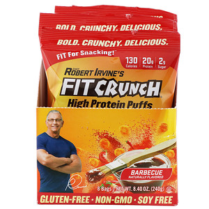 FITCRUNCH, High Protein Puffs, Barbecue, 8 Bags, 1.05 oz (30 g) Each отзывы