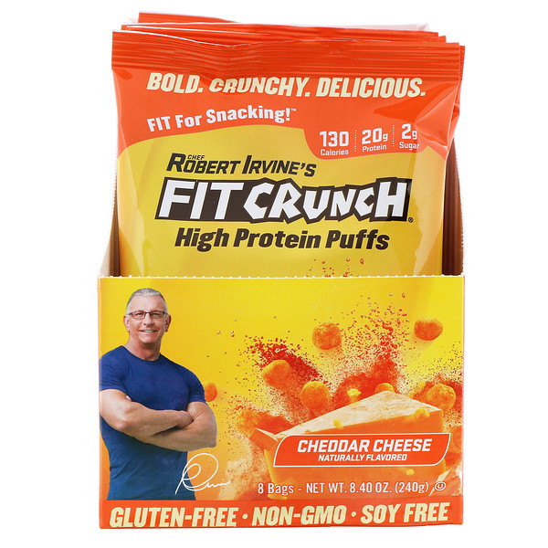 FITCRUNCH, High Protein Puffs, Cheddar Cheese, 8 Bags, 1.05 oz (30 g) Each