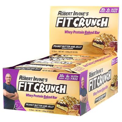 FITCRUNCH Термообработанный сывороточный протеиновый батончик, с арахисовой пастой и фруктовым джемом, 12батончиков по 88г (3, 10унции)  - купить со скидкой