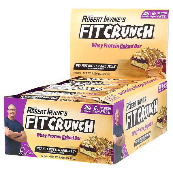 diet bars : FITCRUNCH, Whey Protein Baked Bar, Peanut Butter and Jelly, 12 Bars, 3.10 oz (88 g) Each