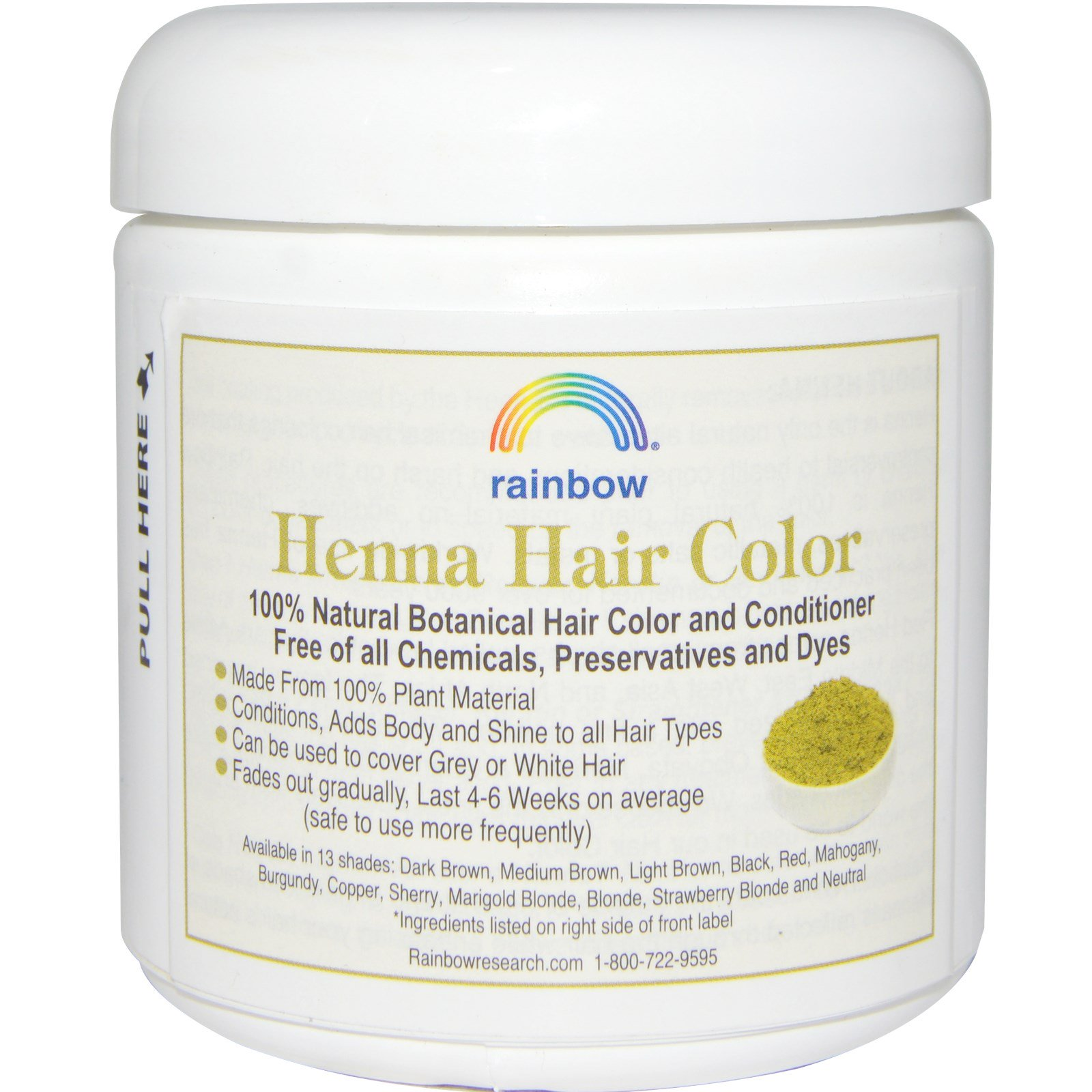 Rainbow Research Henna Hair Color And Conditioner Red 4 Oz 113