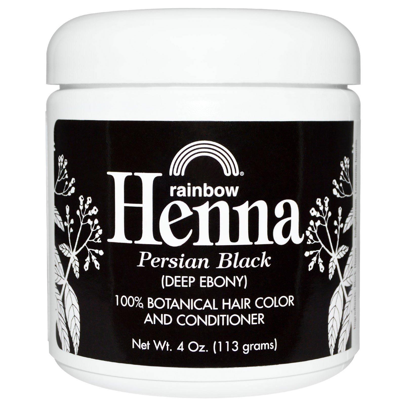 Rainbow Research, Хна, 100% растительная краска для волос и кондиционер, персидский черный (глубокий эбеновый), порошок 4 унции (113 г)